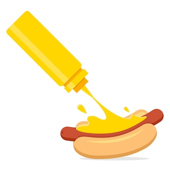 Mostarda salpicada em cachorro-quente