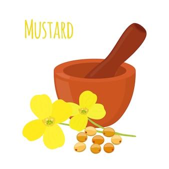 Mostarda, sementes com argamassa, pilão
