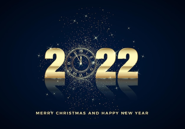 Mostrador de relógio dourado com números 2022 no fundo mágico de natal