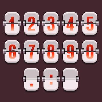 Mostrador mecânico com um conjunto de números em um vetor