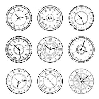 Mostradores de relógio vintage, sinais de discagem de relógio retrô