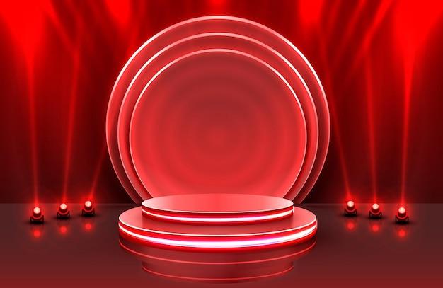 Mostrar cena de pódio no palco com luz para cerimônia de premiação em fundo vermelho