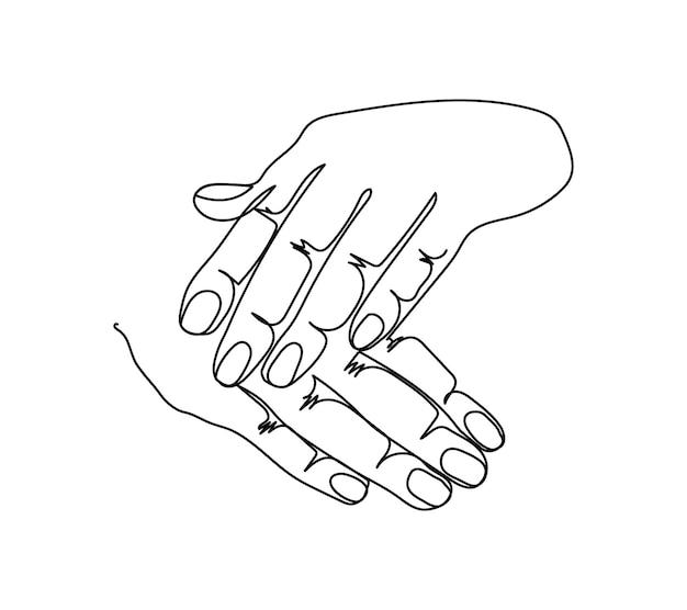 Mostrar gesto de manicure uma linha de arte linha contínua de gesto com as mãos gesto gentil de mãos femininas