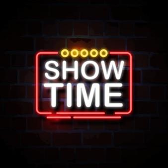Mostrar hora néon estilo sinal ilustração