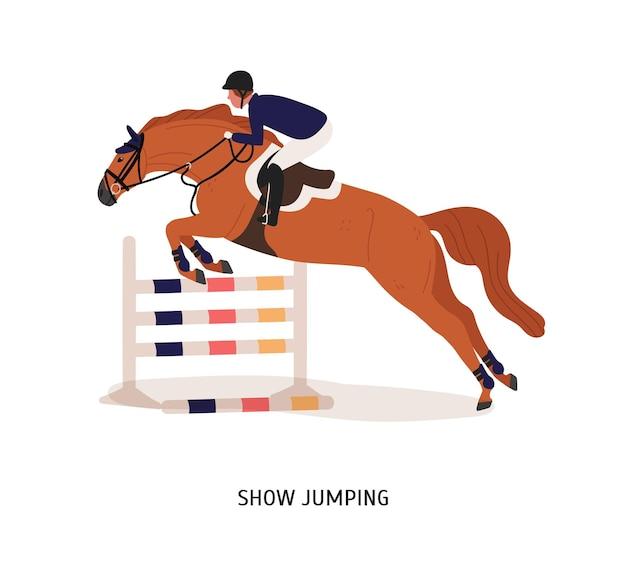 Mostrar ilustração plana de salto. cavaleiro de cavalo, personagem de desenho animado de atleta