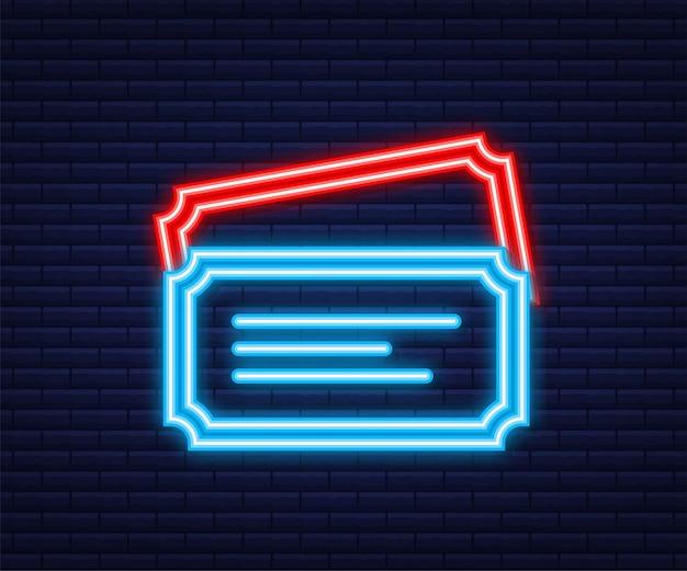 Mostrar ingresso. antigos ingressos de cinema premium. estilo neon. ilustração vetorial.