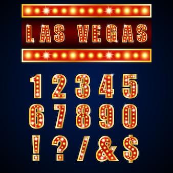 Mostrar lâmpadas vermelhas alfabetos e números em fundo azul