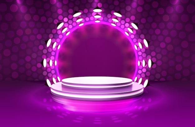 Mostrar luz, cena do pódio do palco com cerimônia de premiação em fundo roxo