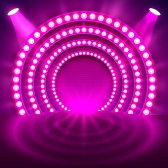 Mostrar luz de fundo roxo do pódio. ilustração vetorial