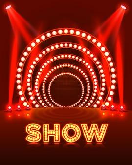 Mostrar luz de fundo vermelho do pódio. ilustração vetorial