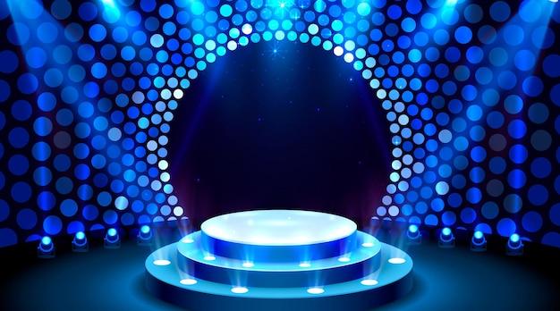 Mostre a cena do pódio do palco iluminado para a cerimônia de premiação em fundo azul