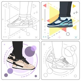 Mostre as sapatilhas fáceis editáveis