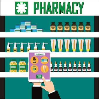 Mostre detalhes o medicamento na tela de um smartphone. farmácia interior moderna ou drogaria.