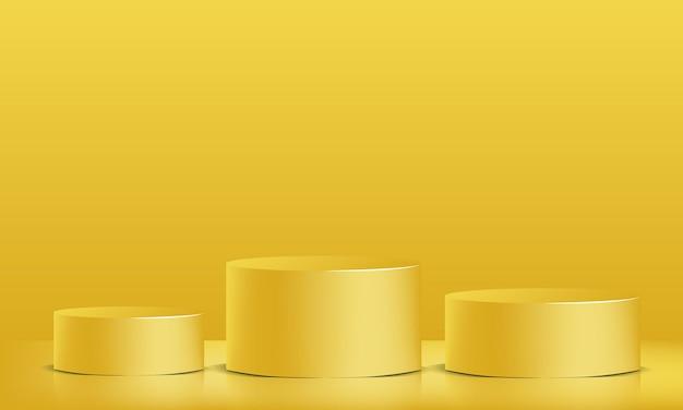 Mostruário do pódio 3d vector amarelo