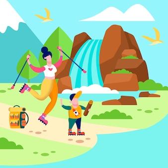 Mother son trip card ilustração de família ao ar livre