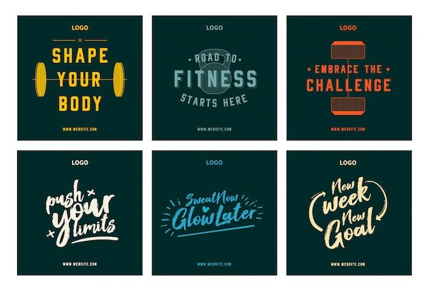 Motivação de fitness ginásio citações social media post set