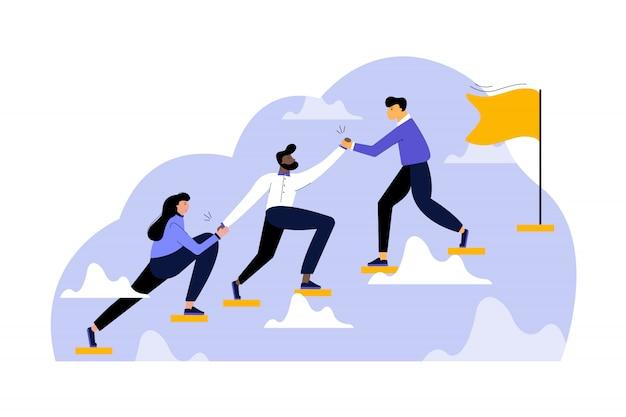 Motivação do objetivo da equipe, negócios, conceito de liderança de inicialização.