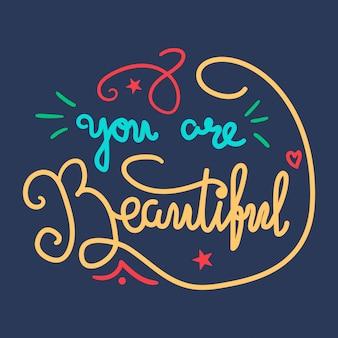 Motivação e beleza lettering concept
