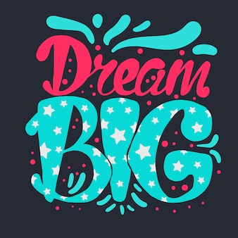 Motivação e sonho lettering concept