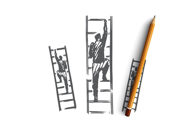 Motivação, escadas, sucesso, carreira, conceito de objetivo. empresário de mão desenhada sobe o esboço do conceito de escadas.