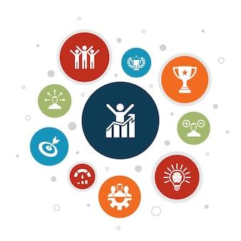 Motivação infográfico design de bolha de 10 etapas. objetivo, desempenho, conquista, ícones simples de sucesso