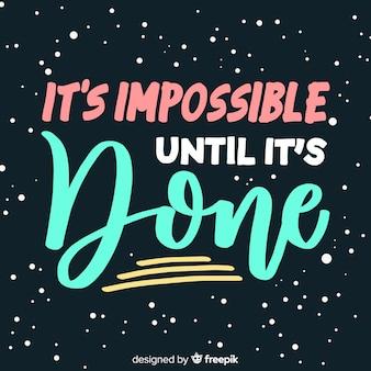 Motivacional lettering citação fundo mão desenhada design