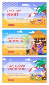 Motivar para relaxar e recreação cabeçalho banner set. frase de inspiração e desejo com lugar para texto de publicidade.