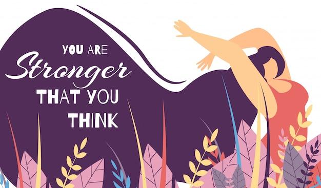 Motivational lettering banner força de poder de mulher