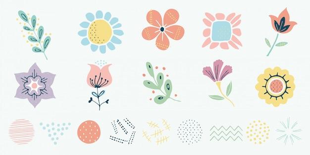 Motivo escandinavo de vetor, ervas e conjunto de flores