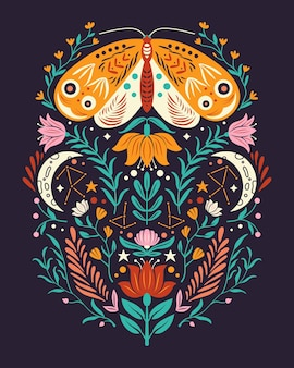 Motivos de primavera em estilo de arte popular. apartamento colorido com mariposa, flores, elementos florais e lua.