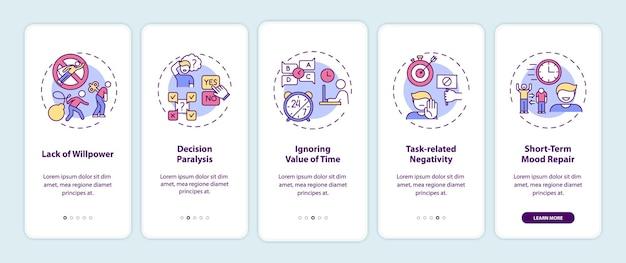 Motivos de procrastinação na tela da página do aplicativo móvel com ilustrações de conceitos