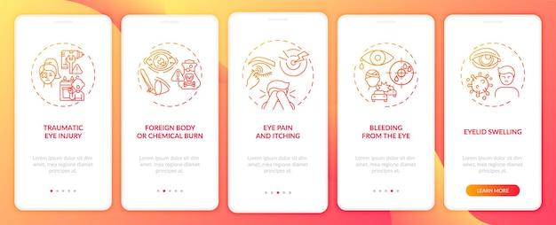 Motivos do exame oftalmológico de emergência para integrar a tela da página do aplicativo móvel com conceitos