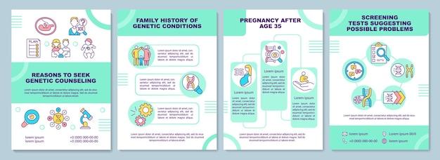 Motivos para buscar um modelo de folheto de aconselhamento genético. teste médico