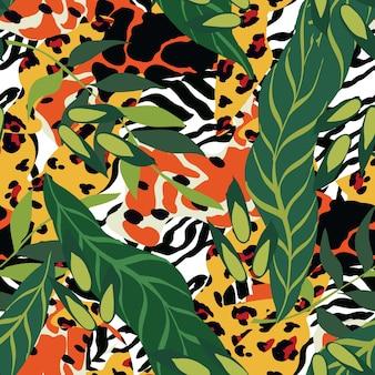Motley jaguar e palm vector seamless pattern. impressão animal do tigre e das folhas. ilustração do safari. fundo africano brilhante da chita.