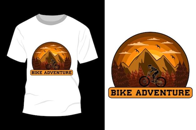 Moto aventura t-shirt maquete design vintage retro
