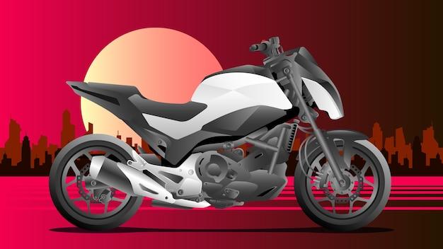 Moto esportiva com fundo da cidade