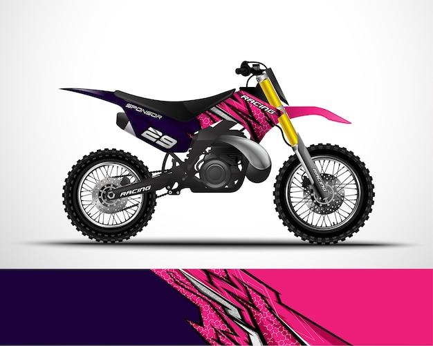 Motocicleta, adesivo de envoltório de motocross e adesivo de vinil.