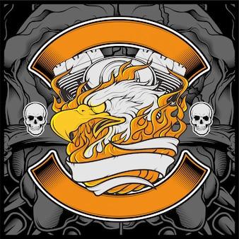 Motocicleta, águia americana, logotipo, emblema, desenho gráfico, águia, ilustração, -