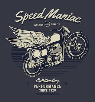 Motocicleta com ilustração de asas