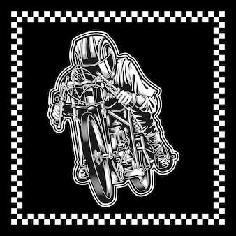 Motocicleta com moldura quadrada