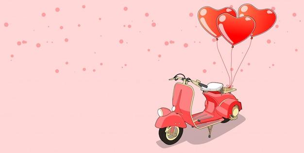 Motocicleta de banner com balões de coração no dia dos namorados