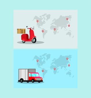 Motocicleta de entrega com caminhão em mapas do planeta terra
