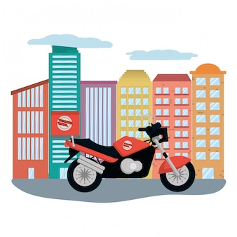 Motocicleta de entrega na paisagem urbana