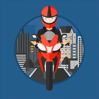 Motocicleta de equitação de mulher.