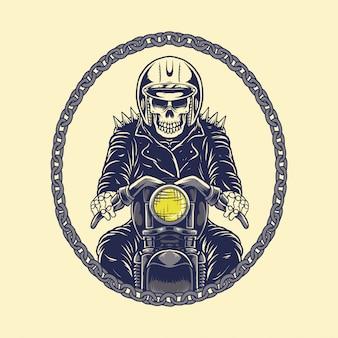 Motocicleta de motociclista de crânio de ilustração com corrente