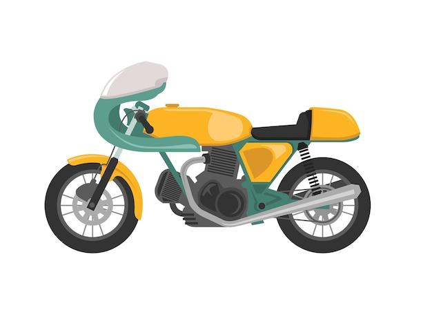 Motocicleta de piloto amarelo clássico vintage