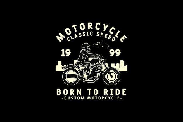 Motocicleta, design de silhueta estilo retro
