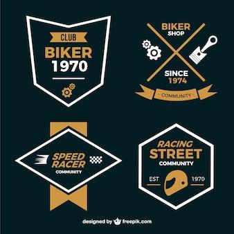 Motocicleta emblemas estilo minimalista