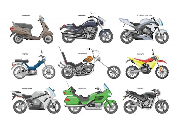 Motocicleta moto ou helicóptero e passeio de ciclo de transporte ilustração conjunto de motociclismo de transporte de moto scooter em fundo branco