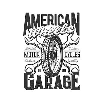Motocicleta personalizada de garagem, corridas de automóveis e roda de estrada